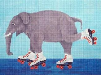 Elephant Roller Skating Painted Canvas Scott Church Creative