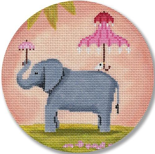 Elephant with Pink Umbrella Painted Canvas CBK Needlepoint Collections