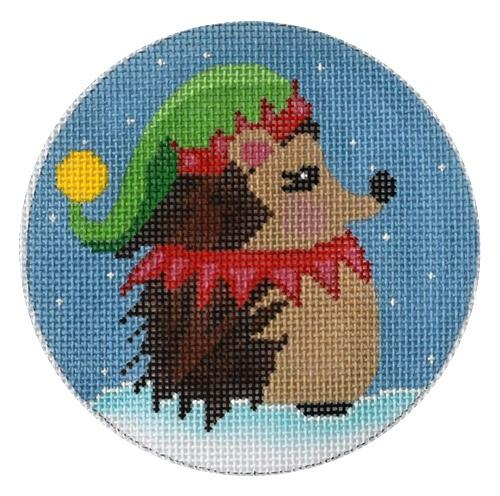 Elf Hedgehog Ornament Painted Canvas Danji Designs