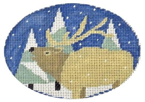 Elk with Trees Oval Painted Canvas Kathy Schenkel Designs