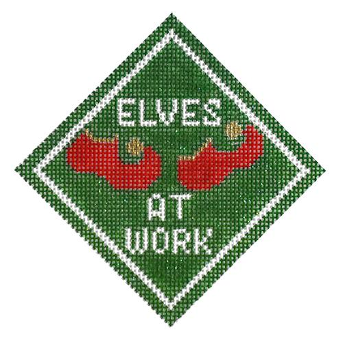 Elves at Work Ornament Painted Canvas Kimberly Ann Needlepoint