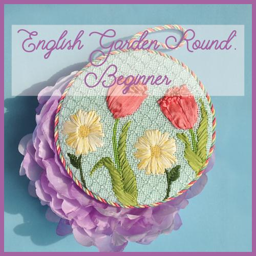 English Garden Round Beginner Needlepoint Kit Online Course Needlepoint.Com