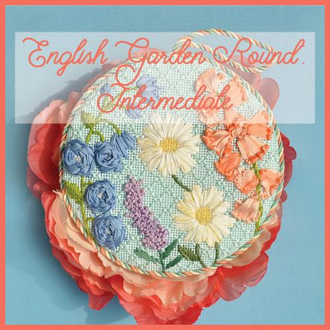 English Garden Round - Intermediate Ribbonwork Kit & Online Class Online Course Needlepoint.Com