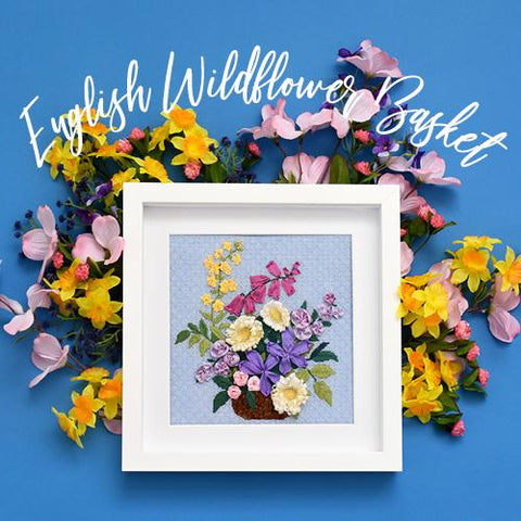 English Wildflower Basket Kit & Online Class Online Course Needlepoint.Com