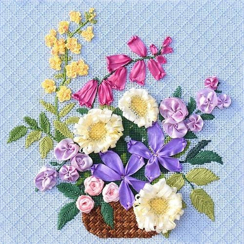 English Wildflower Basket with Stitch Guide Painted Canvas Kirk & Bradley