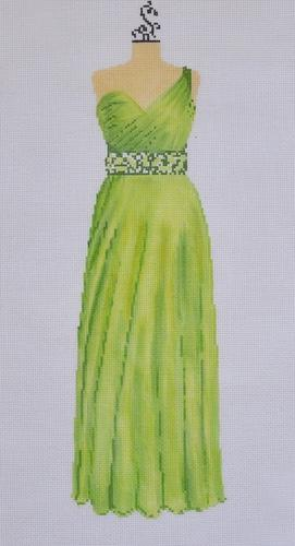 Evening Gown - Lime with One Shoulder Painted Canvas The Meredith Collection