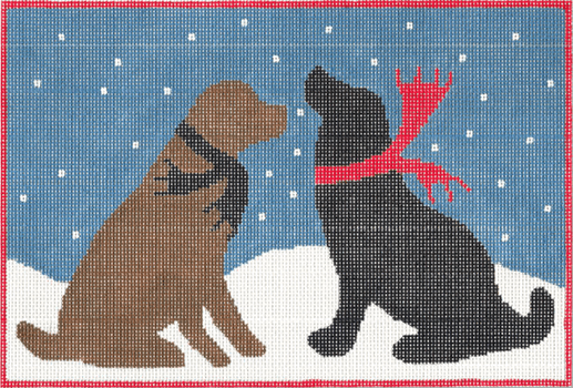 Evening Snow Dogs Painted Canvas CBK Needlepoint Collections