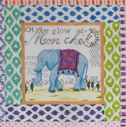 Exotic Collage - Blue Elephant Painted Canvas Kate Dickerson Needlepoint Collections