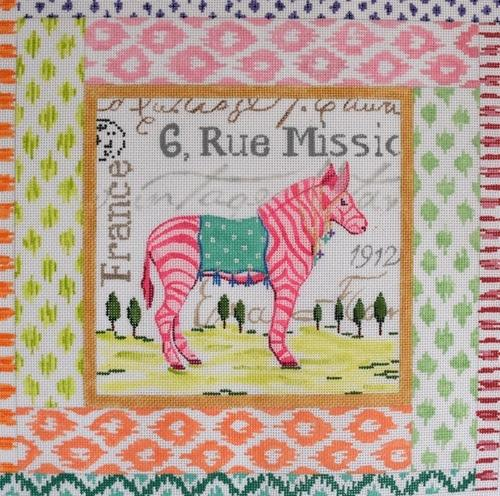 Exotic Collage - Pink Zebra Painted Canvas Kate Dickerson Needlepoint Collections
