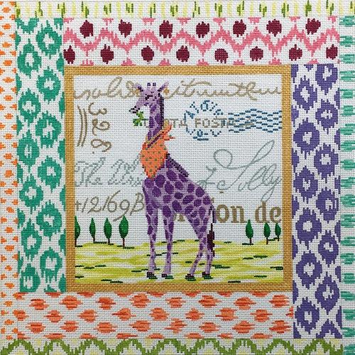 Exotic Collage - Purple Giraffe Painted Canvas Kate Dickerson Needlepoint Collections