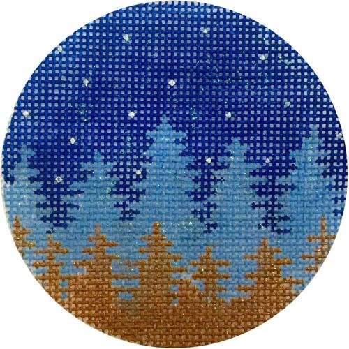Faded Night Trees Ornament Painted Canvas Alice Peterson