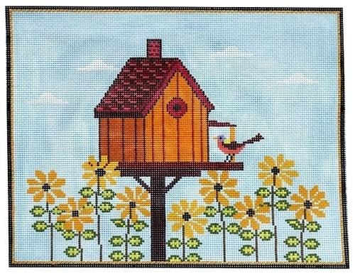 Fall Birdhouse Painted Canvas Warren Kimble