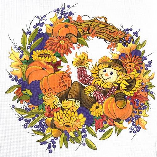 Fall Welcome Wreath Painted Canvas Julie Mar Needlepoint Designs