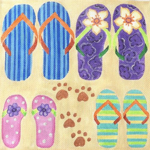 Family Flops on 18 Painted Canvas Nenah Stone Designs