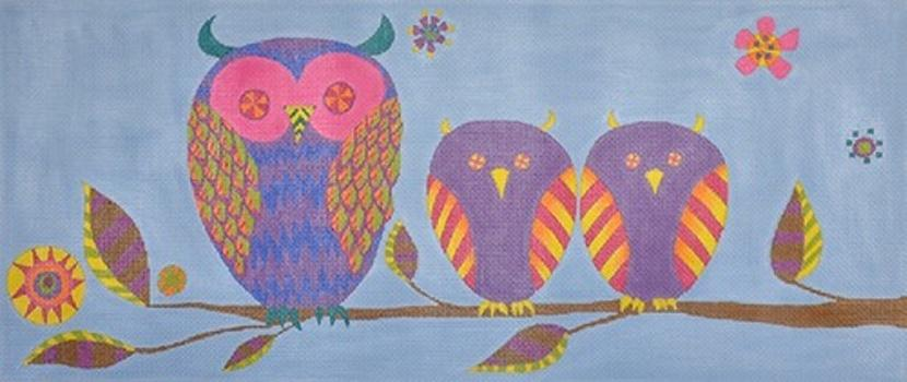 Family Owls on 13 Painted Canvas Zecca