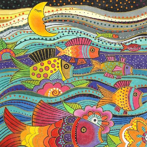 Fanciful Fish Painted Canvas Laurel Burch
