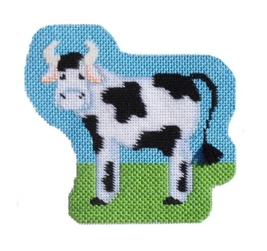 Farm Friends - Cow with Stitch Guide Painted Canvas Needlepoint.Com