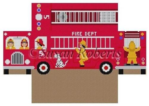 Firetruck Brick Cover Painted Canvas Susan Roberts Needlepoint Designs, Inc.