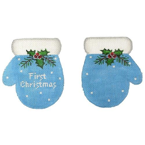 First Christmas Mittens - Blue Painted Canvas Pepperberry Designs