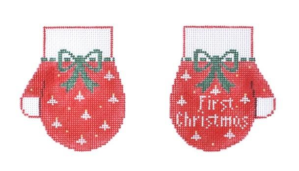 First Christmas Mittens / Red Painted Canvas Kathy Schenkel Designs