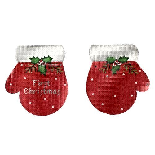 First Christmas Mittens - Red Painted Canvas Pepperberry Designs