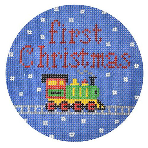 First Christmas Train Ornament Painted Canvas The Meredith Collection
