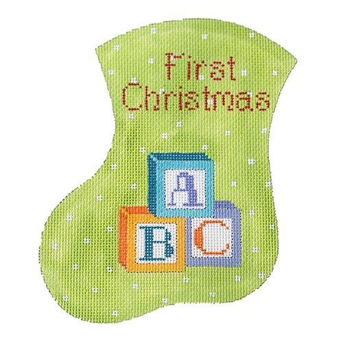 First Christmas with Blocks Mini Stocking Painted Canvas The Meredith Collection