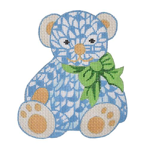 Fishnet Teddy with Bow Insert Painted Canvas Kate Dickerson Needlepoint Collections