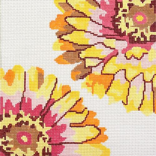 Flaming Zinnia Painted Canvas Jean Smith