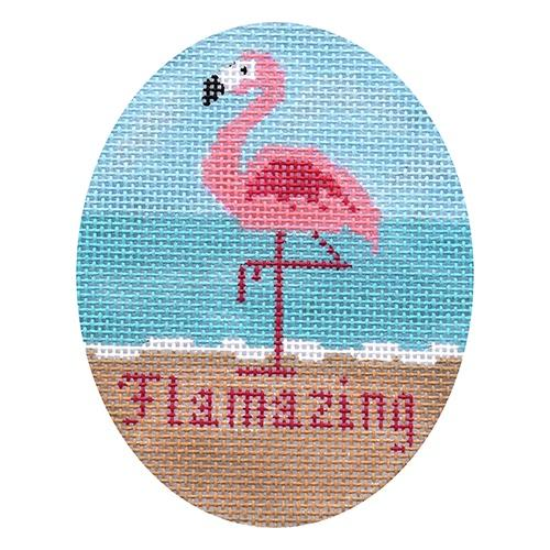 Flamingo Flamazing Ornament Painted Canvas Danji Designs