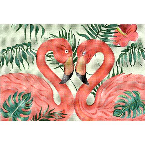 Flamingo Pair Painted Canvas Nenah Stone Designs