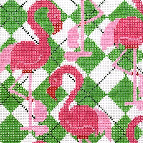 Flamingo Square Painted Canvas Two Sisters Needlepoint