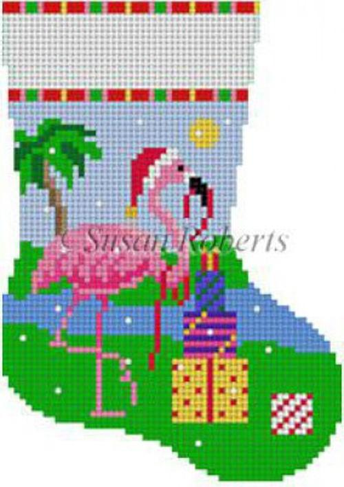 Flamingo with Presents Painted Canvas Susan Roberts Needlepoint Designs Inc.
