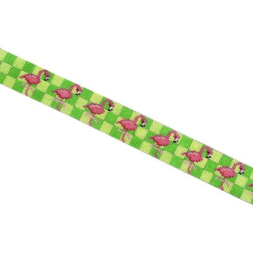 Flamingos on Green Check Belt Painted Canvas Two Sisters Needlepoint