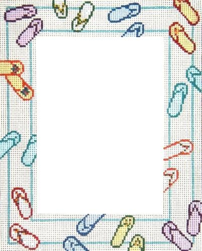 Flip Flop Frame Painted Canvas Needle Crossings