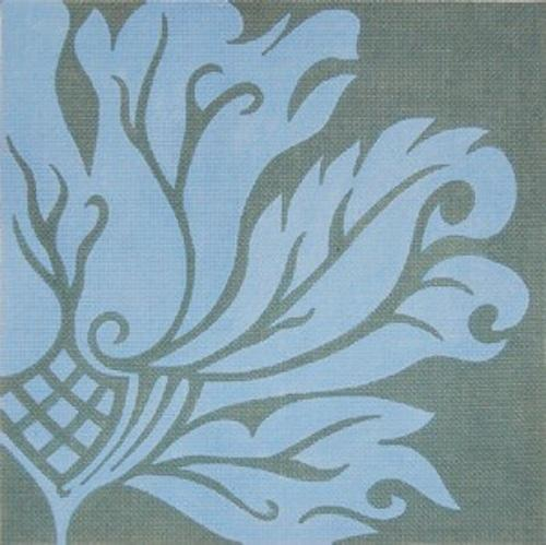 Flora - Blue on Gray Painted Canvas Fleur de Paris