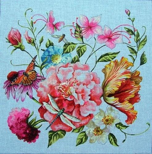 Floral / Dragonfly Painted Canvas Colors of Praise