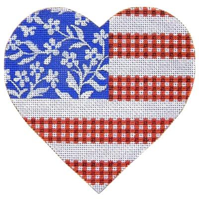 Floral Flag - Stars & Stripes Heart Painted Canvas Kirk & Bradley