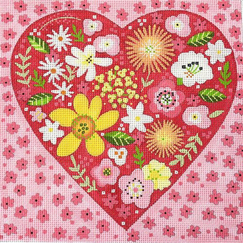 Floral Heart Painted Canvas Melissa Shirley Designs