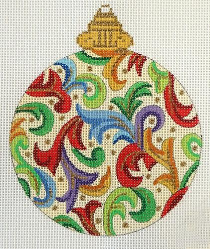 Florentine Bauble on Cream Painted Canvas Alexa Needlepoint Designs