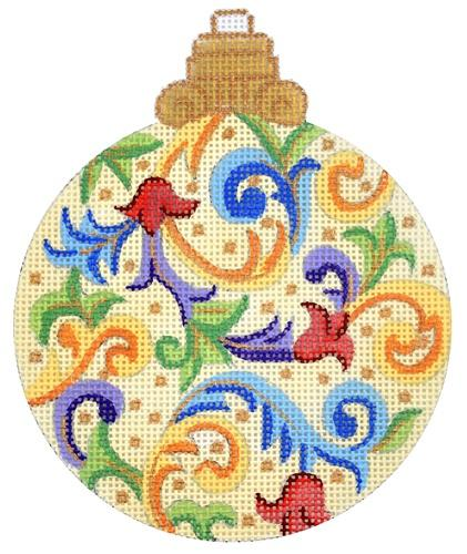 Florentine Bauble on Yellow Painted Canvas Alexa Needlepoint Designs