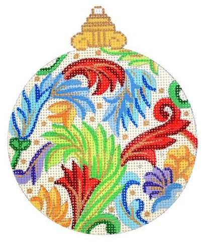 Florentine Bauble Primary Colors Painted Canvas Alexa Needlepoint Designs
