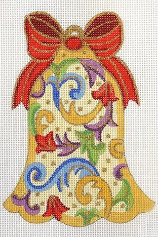 Florentine Bell Ornament with Purple Flowers and Red Bow Painted Canvas Alexa Needlepoint Designs