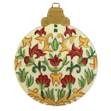 Florentine Ornament on Cream with Red and Gold Flowers Painted Canvas Alexa Needlepoint Designs
