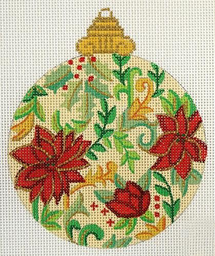 Florentine Poinsettia Bauble on Cream Painted Canvas Alexa Needlepoint Designs