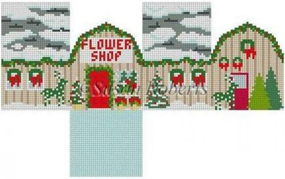 Flower Shop Mini House on 18 (C&C) Painted Canvas Susan Roberts Needlepoint Designs, Inc.