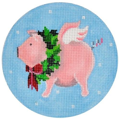 Flying Pig with Wreath Painted Canvas Pepperberry Designs