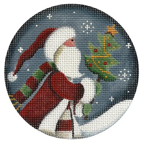 Folk Santa Painted Canvas Rebecca Wood Designs