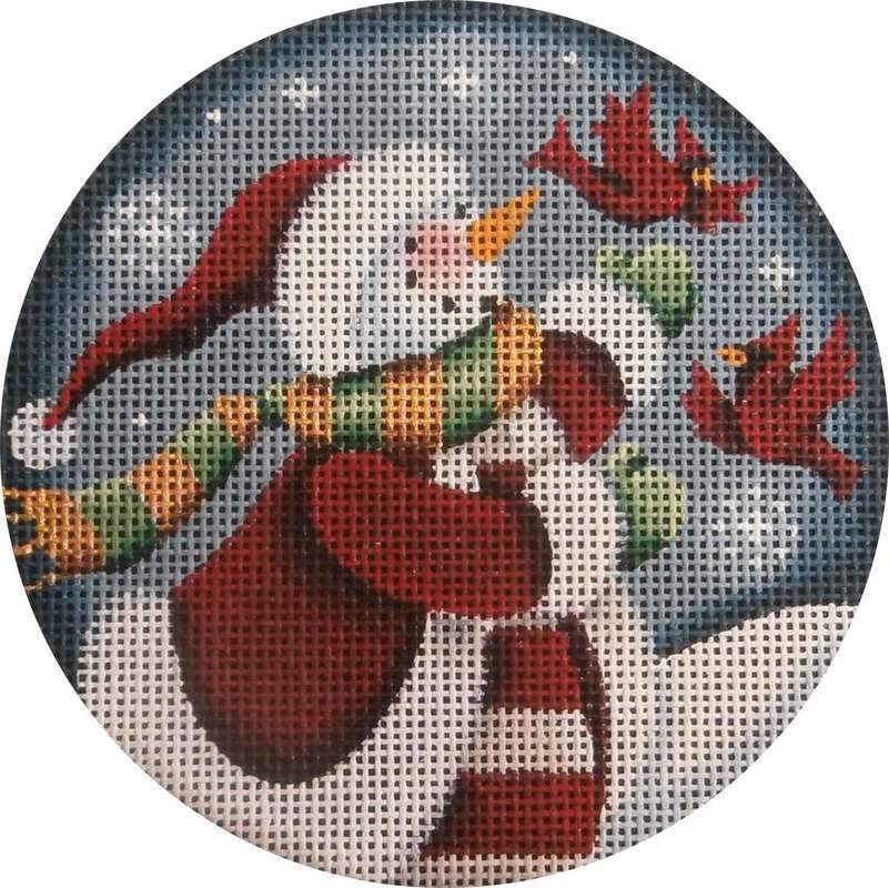 Folk Snowman with Cardinals Painted Canvas Rebecca Wood Designs