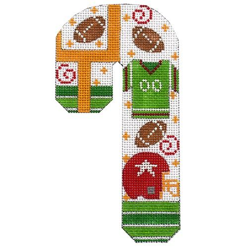 Football Candy Cane Painted Canvas Danji Designs